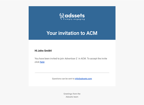 Example of invitation email to ACM sent through the user management.